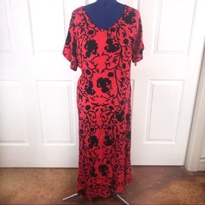 Woman Within 1X (22/24) red/black maxi dress
